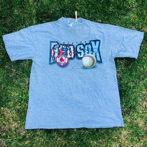 Vintage Y2k Boston Red Sox Gray Graphic Cotton Shi